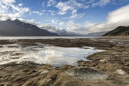 Chilkat river estuary near Haines Alaska with clouds reflected in still pools of water left by the outgoing tide.