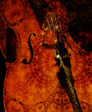 cellos: Cello crop overlaid with patterned textures for an artistic look. Stock Photo