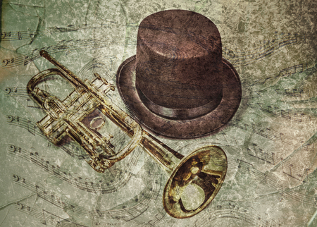 photomanipulation: Old trumpet and hat with a textured background of swirling musical notes. Stock Photo