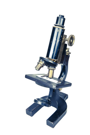 Vintage microscope with coloration isolated on white. Stok Fotoğraf