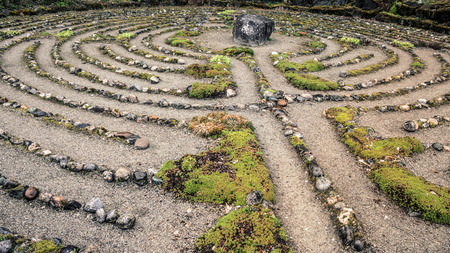 Old labyrinth meditation maze of stone.