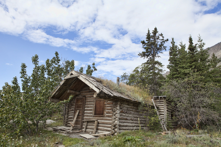 yukon territory: Old abandoned log cabin in the Yukon Territory, Canada on a summer day.