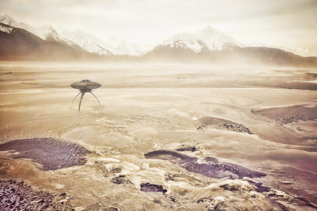 photomanipulation: Dust storm in an alien landscape with a grounded UFO spaceship.