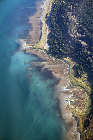 Coastline of the Lynn Canal in Southeast Alaska from the air looking straight down. Stock Photo
