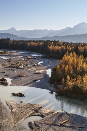Aerial view of the Katzehin river flowing to the sea in Southeast Alaska with fall colors. Stock Photo