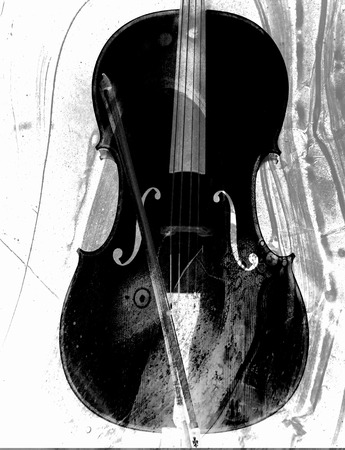 photomanipulation: Artistic cello created with photomanipulation with overlay patterns in black and white.