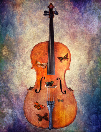 cellos: Magical cello with butterflies and a rainbow texture.