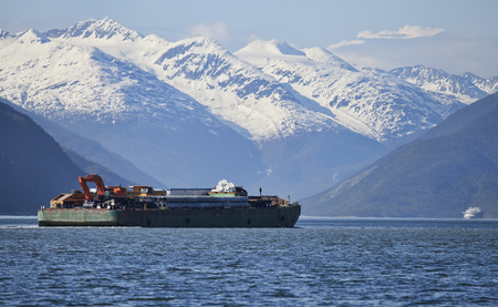 Barch carrying supplies and equipment in Southeast Alaska.
