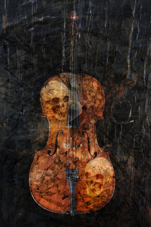 cellos: Cello with skulls and patterns for dark heavy metal look.