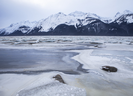 Ice on the Chilkat inlet near Haines in Southeast Alaska in winter.