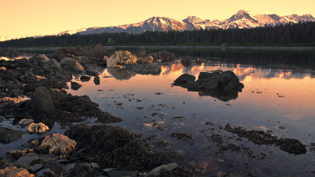 Sunset at Rescue Harbor in Southeast Alaska with an outgoing tide.