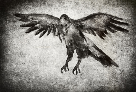 Watercolor painting of a raven flying with a grungy background texture.