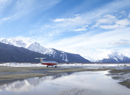Small passenger plane at the airport in Haines Alaska in wnter.