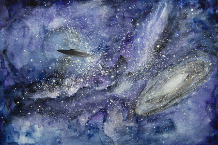 UFO in space painted with watercolors.