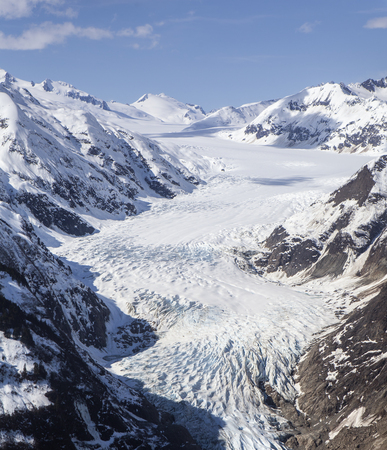Aerial view of the  Glacier in Southeast Alaska.