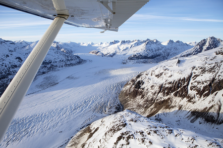 Glacier view from a small plane in Southeast Alaska in early spring.
