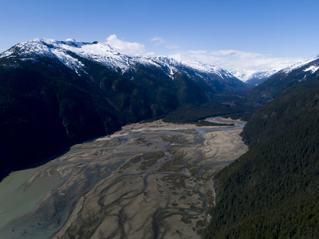 Aerial of Taiyasanka river flats in Southeast Alaska near the Lynn Canal taken from a drone.