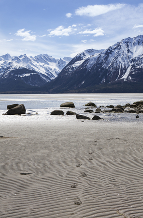 Footprints on a beach in Southeast Alaska near Haines with mountains in the background.