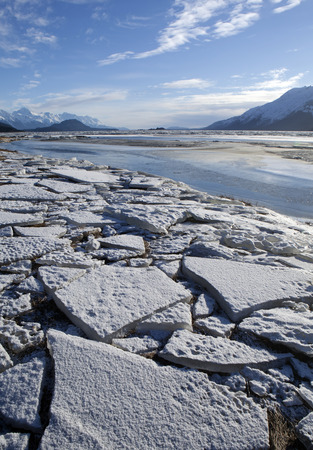 Large chunks of ice stranded by low tide on the Chilkat Estuary near Haines Alaska. Stock Photo