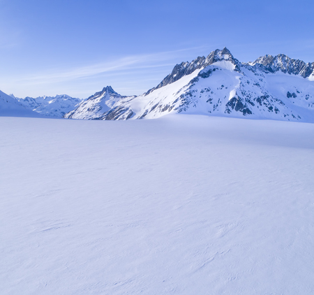 Large unblemished snow field in the Coast Range mountains in Southeast Alaska near Haines on a sunny day.