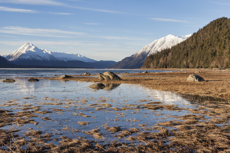 Chilkat Inlet near Haines Alaska at high tide on a sunny winter day.