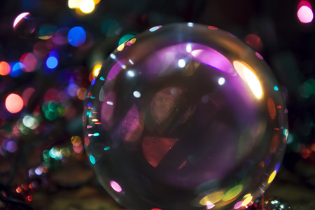 Colorful abstract from light reflections in a glass ball.