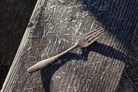 Rusty rustic fork on a frosty wooden bench in the sun with shadows.