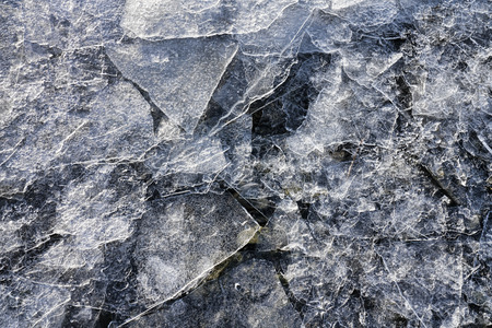 Shards of thin ice on a beach in Southeast Alaska in winter close up.