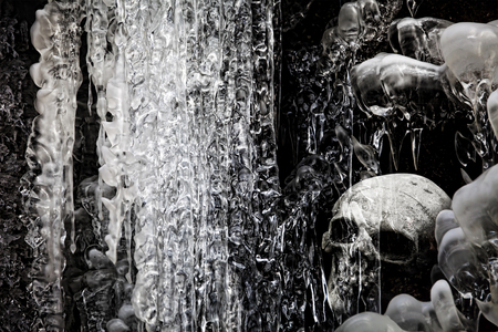 Ice cave with a skull in black and white