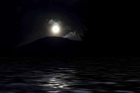 Strange double moon over a dark mountain with water in the foreground created with photo-manipulation