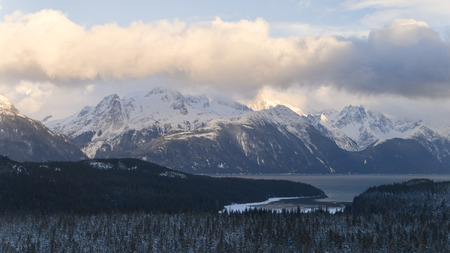 Aerial photo of the Lynn Canal with the Coast Range mountains in winter. Stock Photo