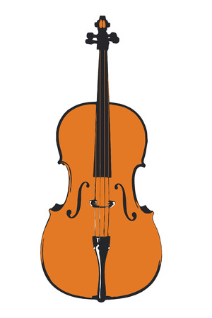 Simple cello illustration in three colors in vector and jpeg.