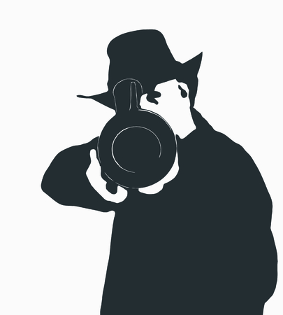 Simple two color black and white illustration in vector and jpeg of a man in a  cowboy hat pointing a gun.