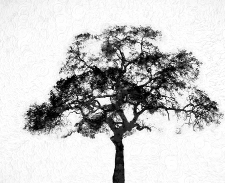 Silhouette tree with stamp painting texture for an artistic look created as digital art. Stock Photo