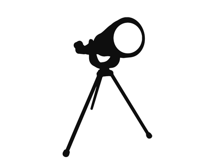Simple black and white illustration of an old fashioned home telescope.