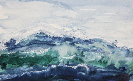 Watercolor painting of ocean waves with a cloudy sky.