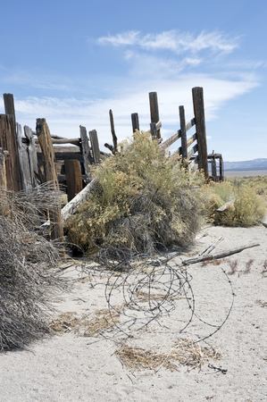 Remains of an old rustic cattle corral in high desert in the west.