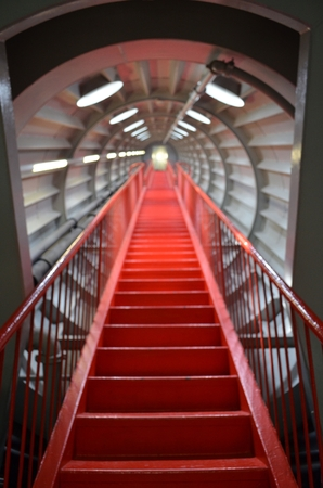 ascend: Red stairs appearing to ascend to infinity
