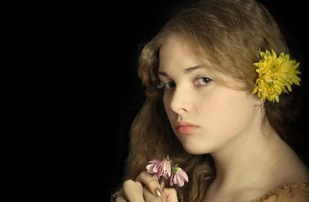 old time: beautiful girl portrait like old time painting Stock Photo