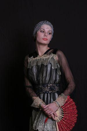 xx century: The girl in  style of the beginning of XX century Stock Photo