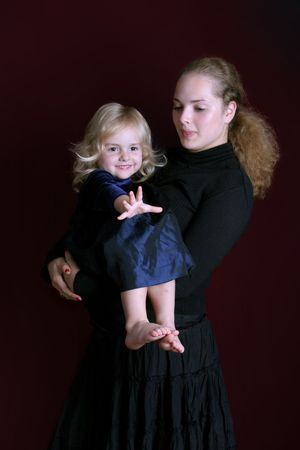 women with smal girl Stock Photo