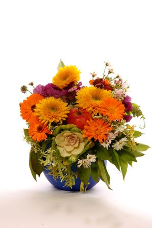 fresh bouquet of automne flowers and fruits with wather sparks