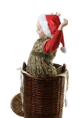 cute litlle elf in the  basket photo