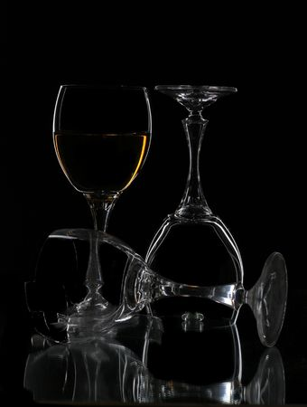 three wine  glasses  contour Stock Photo