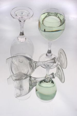 wather: three wine  glasses with wather