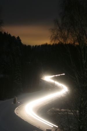 night winter road and trees