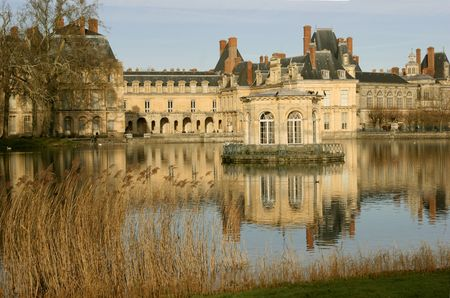 palace and park in Fontainebleau Stock Photo