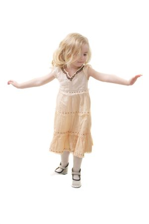little girl balancing Stock Photo