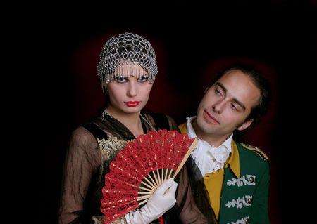 Romantic cuple vestidos de estilo de principios del siglo XX  Foto de archivo - 847151