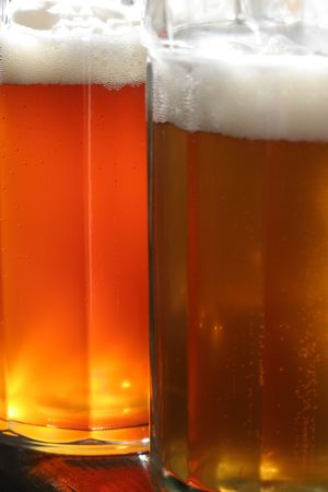 orange and golden beer closeup in summer day Stock Photo